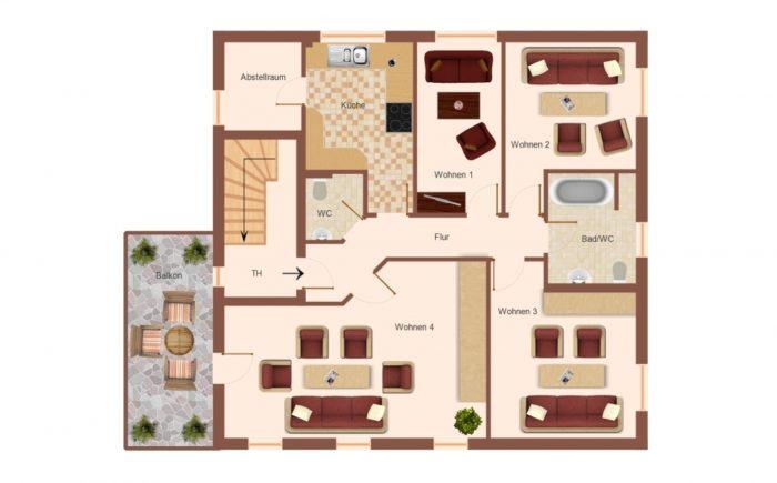 Grundriss Obergeschoss, Wohnung 1