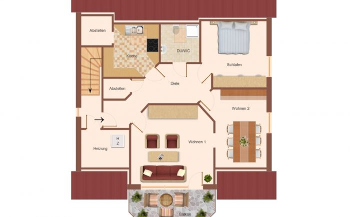 Grundriss Dachgeschoss, Wohnung 2