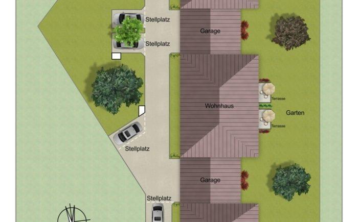Lageplan, zwei Einfamilienhäuser außen mit Garagen und ein Doppelhaus in der Mitte mit Garagen
