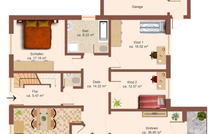 Grundriss der Erdgeschosswohnung
